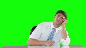 Στοχαστικός επιχειρηματίας που φαίνεται ανοδικός απόθεμα βίντεο