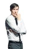 Στοχαστικός επιχειρηματίας Oung στο άσπρο υπόβαθρο Στοκ εικόνα με δικαίωμα ελεύθερης χρήσης