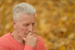 Στοχαστικό ανώτερο άτομο στο πάρκο Στοκ φωτογραφία με δικαίωμα ελεύθερης χρήσης