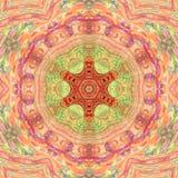 Στοχαστικό ασιατικό ύφος Mandala arabesque στα ρόδινα και πορτοκαλιά χλωμά χρώματα στοκ φωτογραφίες με δικαίωμα ελεύθερης χρήσης