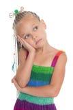Στοχαστικό κορίτσι σε ένα θερινό φόρεμα Στοκ εικόνες με δικαίωμα ελεύθερης χρήσης