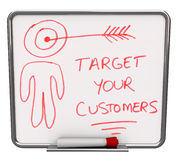 Στοχεύστε στους πελάτες σας - ξηρούς σβήστε το χαρτόνι Στοκ εικόνα με δικαίωμα ελεύθερης χρήσης