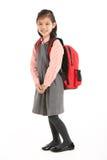 Στούντιο που καλύπτονται του κινεζικού κοριτσιού στη σχολική στολή Στοκ Εικόνες
