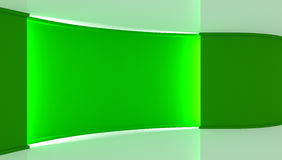 στούντιο Σκηνικό για οποιαδήποτε πράσινη παραγωγή chromakey οθόνης Πράσινη ανασκόπηση πράσινος τοίχος τρισδιάστατος Στοκ φωτογραφία με δικαίωμα ελεύθερης χρήσης