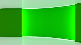 στούντιο Σκηνικό για οποιαδήποτε πράσινη παραγωγή chromakey οθόνης Πράσινη ανασκόπηση πράσινος τοίχος τρισδιάστατος Στοκ Εικόνες