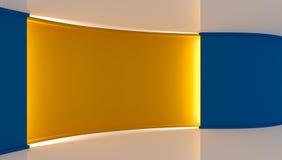 στούντιο Τέλειο σκηνικό για οποιαδήποτε πράσινη παραγωγή chromakey οθόνης Άσπρο και μπλε υπόβαθρο, μπλε τοίχος Κίτρινος τοίχος τρ Στοκ φωτογραφία με δικαίωμα ελεύθερης χρήσης