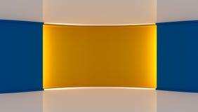 στούντιο Τέλειο σκηνικό για οποιαδήποτε πράσινη παραγωγή chromakey οθόνης μπλε κίτρινος ανασκόπηση&sig Κίτρινος τοίχος μπλε τοίχο Στοκ φωτογραφία με δικαίωμα ελεύθερης χρήσης