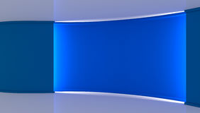 στούντιο Τέλειο σκηνικό για οποιαδήποτε πράσινη παραγωγή chromakey οθόνης Μπλε και άσπρο υπόβαθρο, μπλε τοίχος τρισδιάστατος Στοκ Εικόνες