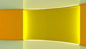 στούντιο Τέλειο σκηνικό για οποιαδήποτε πράσινη παραγωγή chromakey οθόνης Κίτρινο και άσπρο υπόβαθρο, κίτρινος τοίχος τρισδιάστατ Στοκ Φωτογραφία