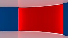 στούντιο Τέλειο σκηνικό για οποιαδήποτε πράσινη παραγωγή chromakey οθόνης μπλε κόκκινο ανασκόπησης κόκκινος τοίχος μπλε τοίχος τρ Στοκ Εικόνες