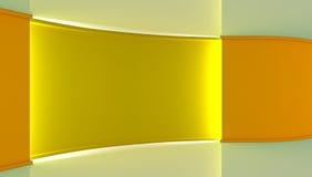 στούντιο Τέλειο σκηνικό για οποιαδήποτε πράσινη παραγωγή chromakey οθόνης Κίτρινο και άσπρο υπόβαθρο, κίτρινος τοίχος τρισδιάστατ Στοκ Εικόνα