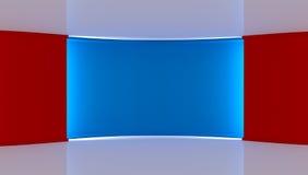 στούντιο Τέλειο σκηνικό για οποιαδήποτε πράσινη παραγωγή chromakey οθόνης μπλε κόκκινο ανασκόπησης κόκκινος τοίχος μπλε τοίχος τρ Στοκ Εικόνα