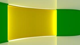στούντιο Τέλειο σκηνικό για οποιαδήποτε πράσινη παραγωγή chromakey οθόνης Πράσινη και κίτρινη ανασκόπηση πράσινος τοίχος Κίτρινος Στοκ Φωτογραφία