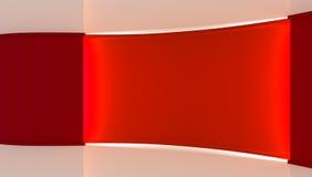 στούντιο Τέλειο σκηνικό για οποιαδήποτε πράσινη παραγωγή chromakey οθόνης Κόκκινο και άσπρο υπόβαθρο, κόκκινος τοίχος τρισδιάστατ Στοκ Εικόνα