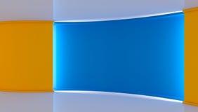 στούντιο Τέλειο σκηνικό για οποιαδήποτε πράσινη παραγωγή chromakey οθόνης μπλε κίτρινος ανασκόπηση&sig Κίτρινος τοίχος μπλε τοίχο Στοκ Εικόνα