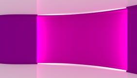 στούντιο Τέλειο σκηνικό για οποιαδήποτε πράσινη παραγωγή chromakey οθόνης Ιώδες και άσπρο υπόβαθρο, ιώδης τοίχος τρισδιάστατος Στοκ Εικόνες
