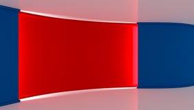 στούντιο Τέλειο σκηνικό για οποιαδήποτε πράσινη παραγωγή chromakey οθόνης μπλε κόκκινο ανασκόπησης κόκκινος τοίχος μπλε τοίχος τρ Στοκ Φωτογραφίες