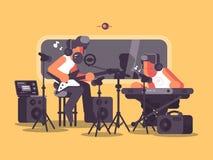 Στούντιο υγιούς καταγραφής με τον ακουστικό εξοπλισμό διανυσματική απεικόνιση