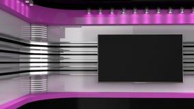 Στούντιο TV Ρόδινο στούντιο Το σκηνικό για τη TV παρουσιάζει Δωμάτιο ειδήσεων στοκ εικόνα