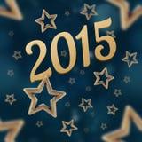 2015 στο άνευ ραφής σχέδιο αστεριών νύχτας Στοκ Εικόνα