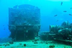 Στο βυθισμένο σκάφος Thistlegorm στοκ εικόνες
