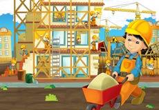 Στο εργοτάξιο οικοδομής - απεικόνιση για τα παιδιά Στοκ εικόνες με δικαίωμα ελεύθερης χρήσης