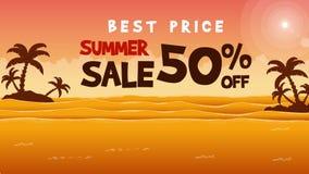 Στο θέμα θερινής πώλησης παραλιών ηλιοβασιλέματος που ζωντανεύει απεικόνιση αποθεμάτων