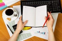 Στο θηλυκά μολύβι και το σημειωματάριο χεριών στο υπόβαθρο του υπολογιστή γραφείου Στοκ φωτογραφία με δικαίωμα ελεύθερης χρήσης