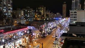 Στο κέντρο της πόλης κυκλοφορία πεζών νύχτας timelapse του Βανκούβερ απόθεμα βίντεο