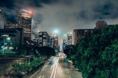 Στο κέντρο της πόλης Λος Άντζελες από τη 4η γέφυρα οδών Στοκ Εικόνες