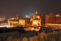 στο κέντρο της πόλης νύχτα του Κίεβου Στοκ Εικόνες