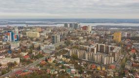 Στο κέντρο της πόλης περιοχή της πόλης Dnipro Πανοραμική εικονική παράσταση πόλης με τον ορίζοντα στοκ φωτογραφία