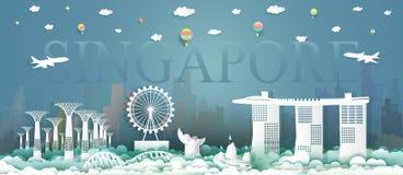 Στο κέντρο της πόλης πολιτισμός αρχιτεκτονικής Σινγκαπούρης ταξιδιού στις άμμους κόλπων μαρινών απεικόνιση αποθεμάτων