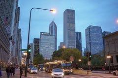 Στο κέντρο της πόλης πόλη του Σικάγου στοκ φωτογραφίες