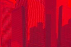 Στο κέντρο της πόλης σχέδιο υποβάθρου ουρανοξυστών γυαλιού εμπορικών κέντρων μπλε Τονισμένη φωτογραφία στοκ εικόνα