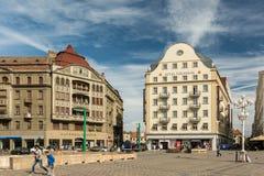 Στο κέντρο της πόλης άποψη του ιστορικού κέντρου της πόλης Timisoara Στοκ Φωτογραφία