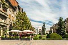 Στο κέντρο της πόλης άποψη του ιστορικού κέντρου της πόλης Timisoara Στοκ Εικόνες