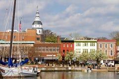 Στο κέντρο της πόλης λιμάνι Annapolis Στοκ Εικόνες