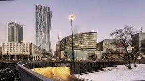 Στο κέντρο της πόλης οικονομικό κέντρο της Βαρσοβίας στο χρόνος-σφάλμα της Βαρσοβίας απόθεμα βίντεο