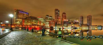 Στο κέντρο της πόλης ορίζοντας της Βοστώνης, Μασαχουσέτη, ΗΠΑ Στοκ εικόνα με δικαίωμα ελεύθερης χρήσης