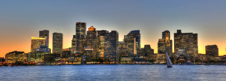 Στο κέντρο της πόλης ορίζοντας της Βοστώνης, Μασαχουσέτη, ΗΠΑ Στοκ Φωτογραφίες