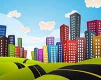 Στο κέντρο της πόλης οδικό τοπίο κινούμενων σχεδίων Στοκ Εικόνες