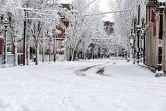 Στο κέντρο της πόλης Πόρτλαντ κάτω από το χιόνι στοκ εικόνα