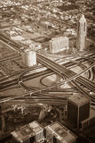 Στο κέντρο της πόλης σκηνή πρωινού του Ντουμπάι Τοπ όψη Στοκ φωτογραφία με δικαίωμα ελεύθερης χρήσης
