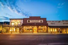 Στο κέντρο της πόλης Jackson Hole στο Ουαϊόμινγκ ΗΠΑ στοκ φωτογραφία με δικαίωμα ελεύθερης χρήσης