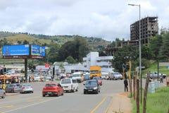 Στο κέντρο της πόλης Mbabane, Σουαζιλάνδη, Νότιος Αφρική, αφρικανική πόλη Στοκ φωτογραφία με δικαίωμα ελεύθερης χρήσης