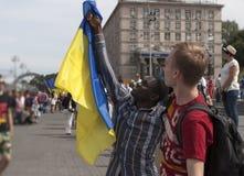 Στο Κίεβο στη στρατιωτική παρέλαση Khreshchatyk Στοκ Φωτογραφία