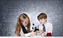 Στο μάθημα χημείας Στοκ Φωτογραφίες