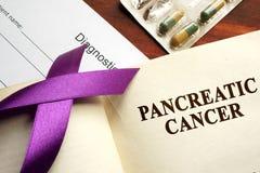 Στο πάγκρεας καρκίνος που γράφεται σε μια σελίδα στοκ φωτογραφία