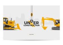 Στο πλαίσιο της αφίσας εμβλημάτων κατασκευής Σχέδιο Ιστού επίσης corel σύρετε το διάνυσμα απεικόνισης Στοκ φωτογραφία με δικαίωμα ελεύθερης χρήσης